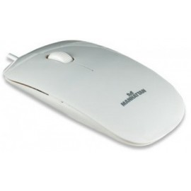 Mouse MANHATTAN, Color blanco, 3 botones, USB, Óptico, 1000 DPI