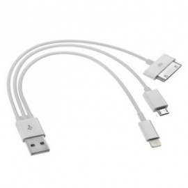 Cable BROBOTIX , USB A, Micro-USB B/Apple 30-p/Lightning, Macho/Macho, Color blanco