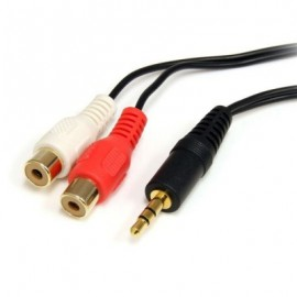 Cable de audio StarTech.com, 1,8 m, 3.5mm, 2 x RCA, Macho/hembra, Negro