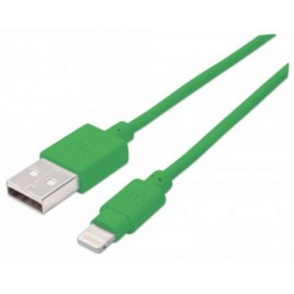 Cable iLynk Lightning MANHATTAN 394215, Verde, Apple, 1 m, Cable Lightning