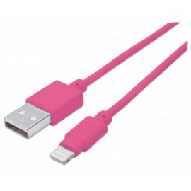 Cable iLynk Lightning MANHATTAN 394222, Rosa, Apple, 1 m, Cable Lightning
