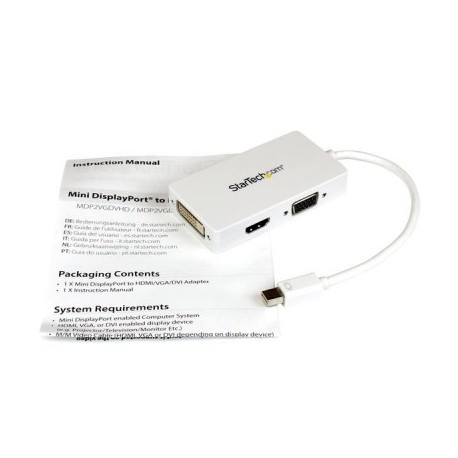 Adaptador de video StarTech.com, Mini DisplayPort, Color blanco