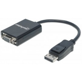 Adaptador Displayport a VGA MANHATTAN 151962, Negro, DisplayPort, VGA