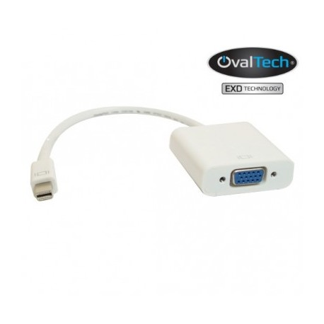 Adaptador Mini DisplayPort a VGA color blanco. Premium OvalTech