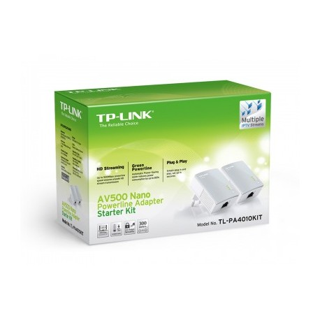 Adaptador powerline TP-LINK TL-PA4010KIT, Color blanco, 500 Mbit/s